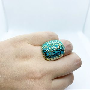 Turquoise and Gold Colored Thick Ring